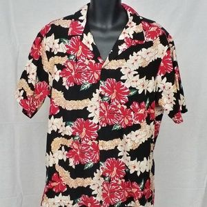 Hilo Hattie Mens Hawaiian XL Floral Lei Shirt